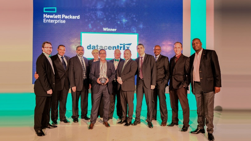 HPE Partner of the Year 2017, from left to right: Leon Erasmus, Tumi Pooe, Ahmed Mohamed, Petro Plotz, Sunil Sing, Marco Vieira, Tony de Sousa, Ammar  Lababidy, Sakithi Ntshalintshali, Francois Style, and Ernest Rampete.