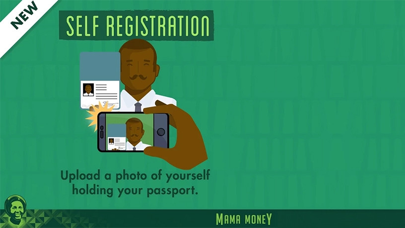 The service allows users to complete their registration online using the Mama Money app and then take a selfie.