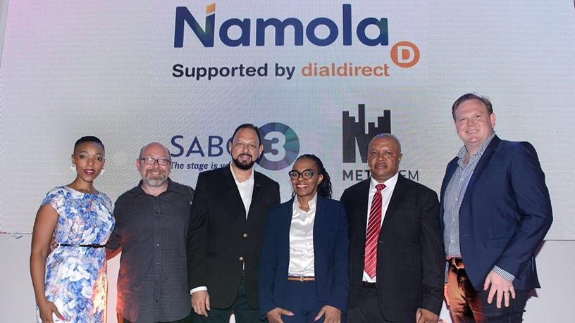 Yusuf Abramjee, Namola's chief ambassador, with others at the official announcement of the Namola app nationwide rollout.