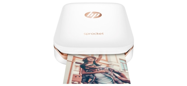 The ultra-portable, palm-sized HP Sprocket Photo Printer.