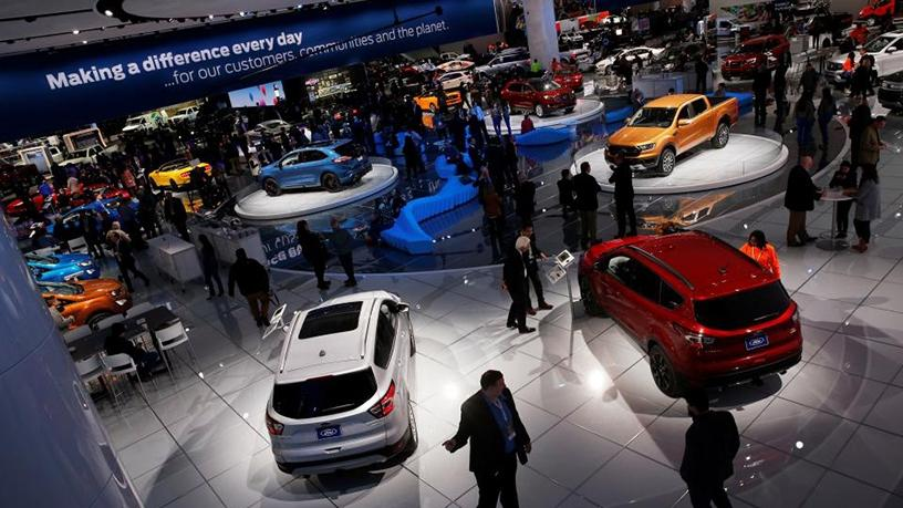 The Ford booth at the North American International Auto Show in Detroit, Michigan.