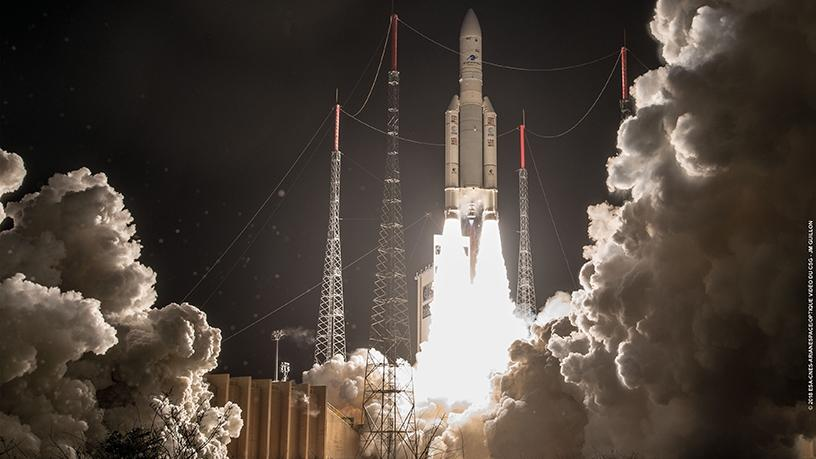 The Ariane 5 rocket lifting off at 22:20 GMT on 25 January from the Guiana Space Centre in French Guiana.