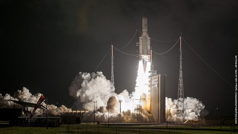 The Ariane 5 carried two satellites, the SES-14 and Al Yah 3 communications satellites.
