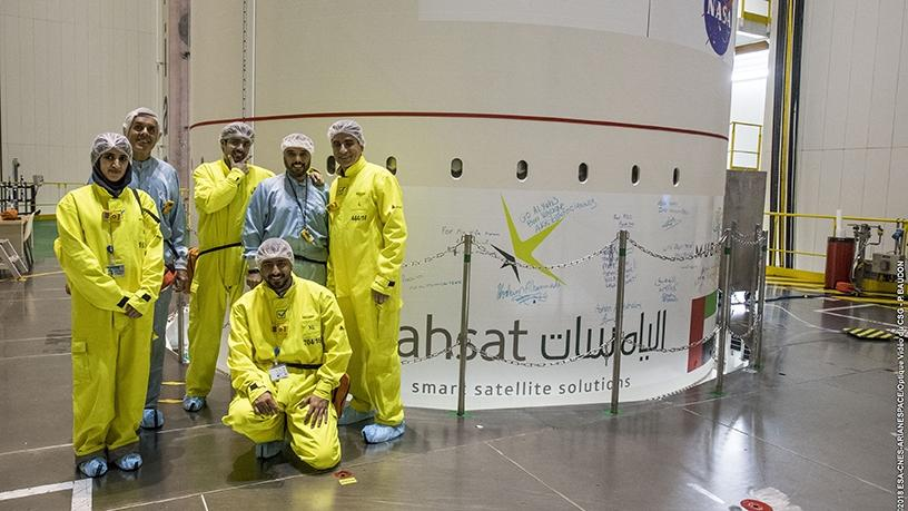 Yahsat engineers sign off on Al Yah 3 by leaving a personal message on the satellite before being loaded onto the Ariane 5 for launch.