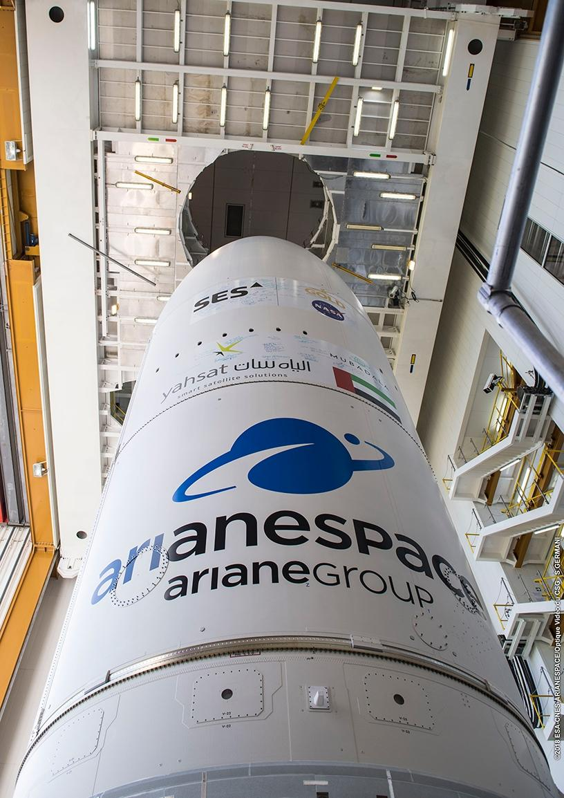 A close up of the Ariane 5 carrying Yahsat's third satellite, Al Yah 3.