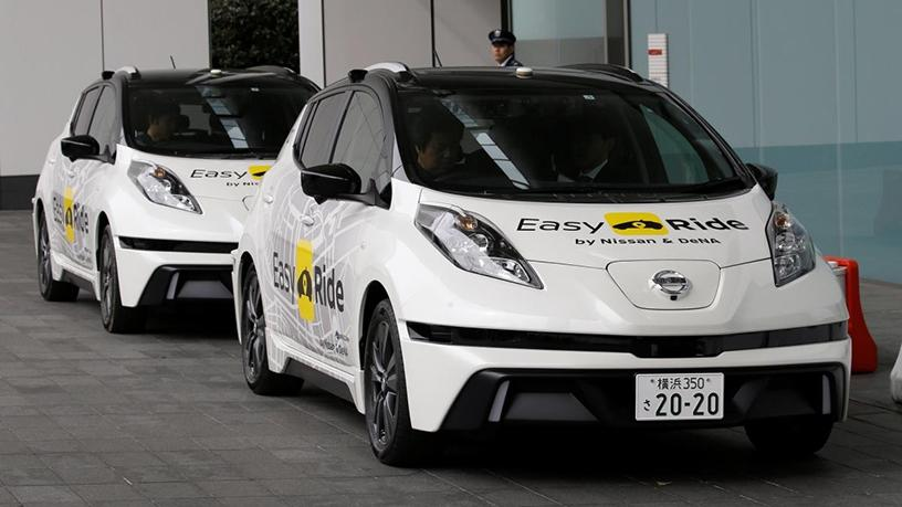 Self-driving vehicles based on the Nissan Leaf electric vehicle for the Easy Ride service.