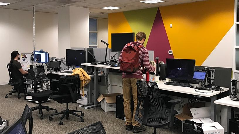 The office space set-up with optional standing desks.