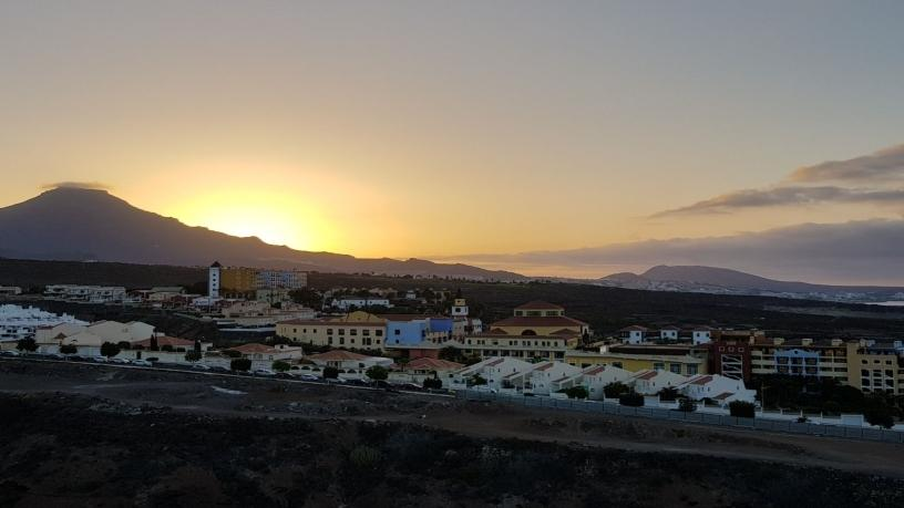 Hard Rock Hotel pool and the sunrise in Tenerife.