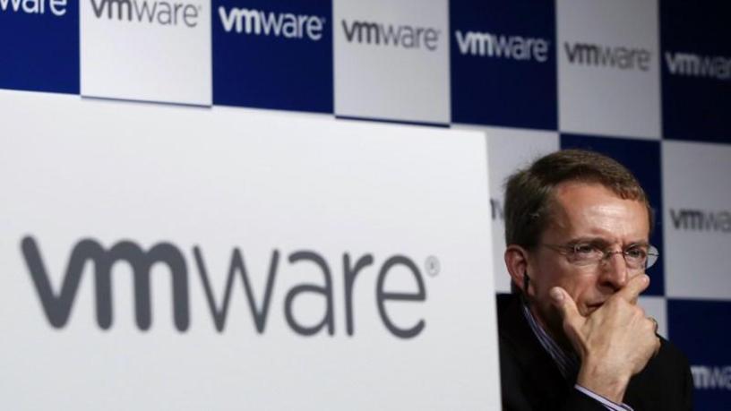 VMware CEO Pat Gelsinger addresses a news conference.