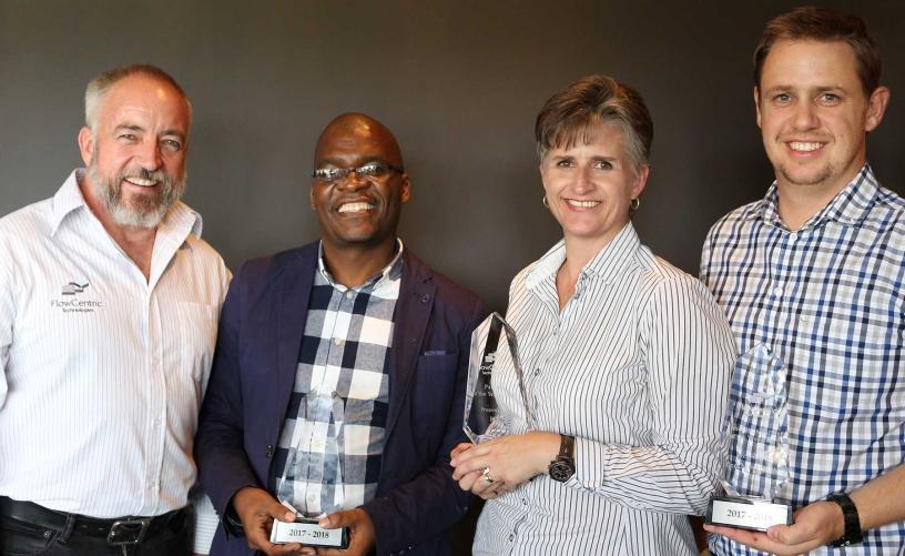 Award winning Partners: from left to right Denis Bensch (FlowCentric Technologies), Motshubi Sebina (Acc Sourcing), Mada Hauptfleisch (BCX), Gerhard van den Heever (One Channel).