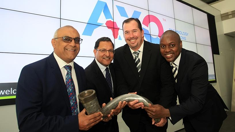 Khalid Abdulla, group CEO of AEEI; Salim Young, chairman of AYO; Kevin Hardy, CEO of AYO; and Siphiwe Nodwele, CIO of AYO, at the group's listing last year.