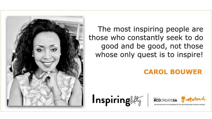 Carol Bouwer, founder of Carol Bouwer Productions and UNICEF SA's special advocate for women and children.