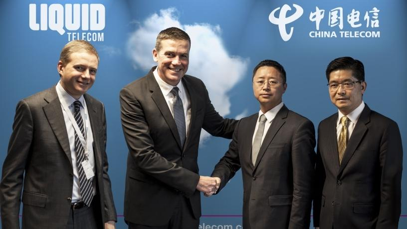 From left: Nic Rudnick, Group CEO of Liquid Telecom; Willem Marais, Group Chief Business Development Officer of Liquid Telecom; Changhai Liu, Managing Director of China Telecom (Africa and Middle East); and Donald Tan, EVP of China Telecom Global.