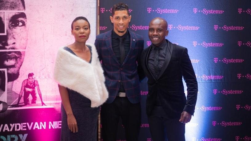 Dineo Molefe, MD at T-Systems South Africa, Wayde van Niekerk and Mpumi Nhlapo, Head of Marketing and Partner Management at T-Systems South Africa.