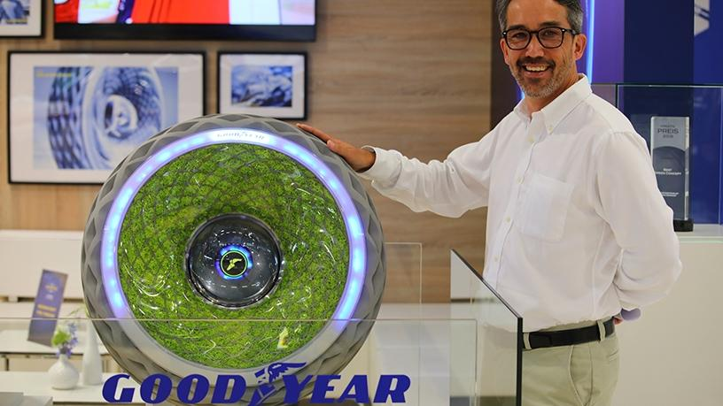 Goodyear Germany chief engineer Saburo Miyabe with the Oxygene photosynthesis tyre.