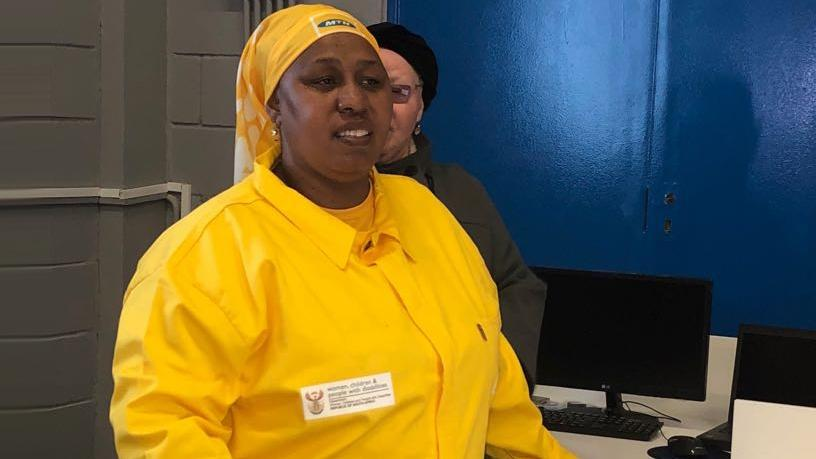Deputy Minister of Social Services Hendrietta Bogopane-Zulu unveiling the multimedia centre at the Afrika Tikkun Wings of Life Centre in Diepsloot, Johannesburg.