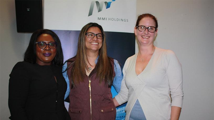 Lindiwe Matlali of Africa Teen Geeks, Ashlene Van Der Colff of MMI Holdings and Samantha Perry of Women in Tech ZA.