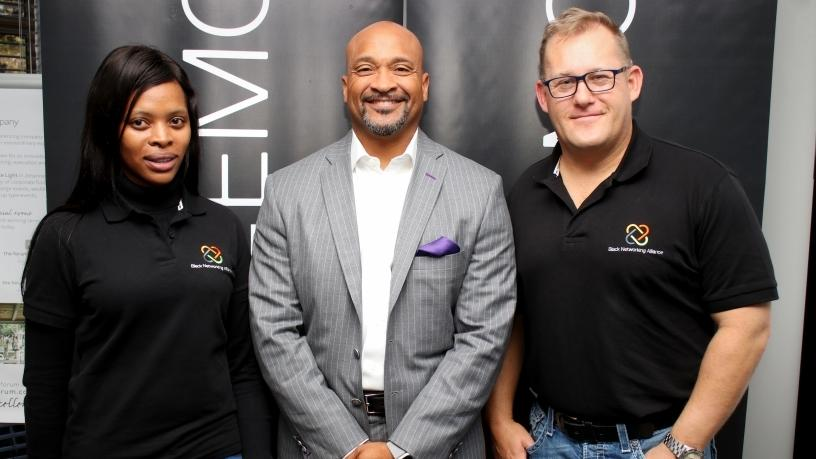 Angela Qithi, BNA local leadership team member; Patrick Felder, Dell Technologies VP for human resources; and Doug Woolley, Dell EMC GM in SA and BNA executive sponsor for SA.