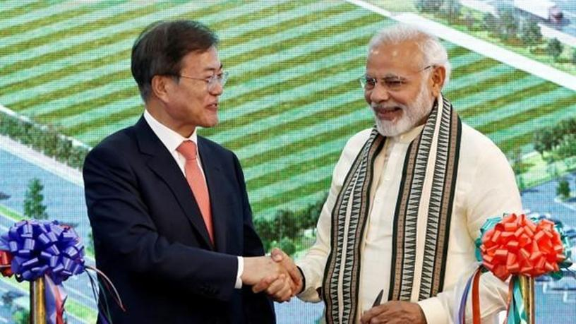 South Korean president Moon Jae-in and Indian prime minister Narendra Modi at the inauguration of Samsung's smartphone manufacturing facility in Noida, India.