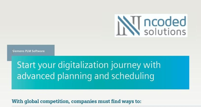 Start your digitalisation journey with advanced planning and scheduling.