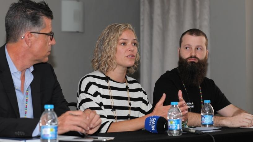 Head of global product partnerships search content at Google, Banks Baker; executive director of the Wikimedia Foundation, Katherine Maher; and president of Wikimedia ZA and local organising committee chairman, Douglas Scott.