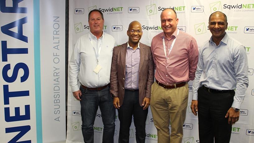 From left to right: Shaun Brashaw (CTO, Netstar), Phathizwe Malinga (acting CEO, SqwidNet), Pierre Bruwer (group MD, Netstar), Chetan Goshalia (CSMO, SqwidNet)