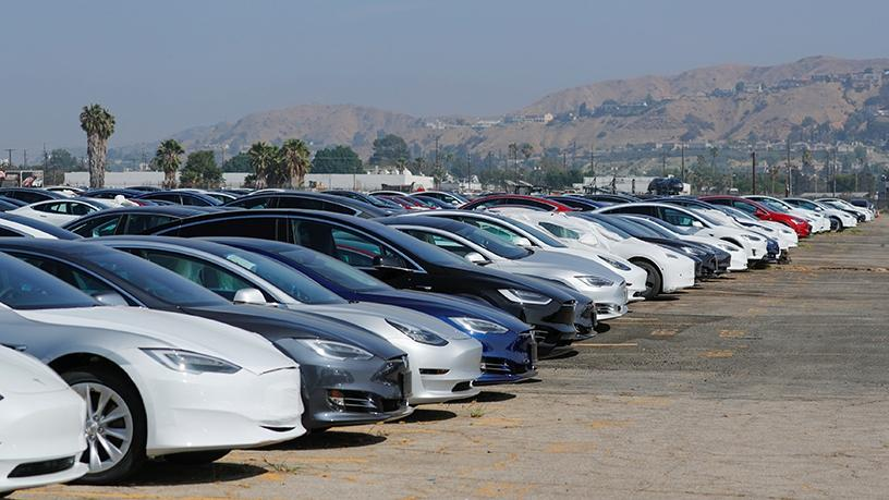 Newly manufactured Tesla vehicles in California.