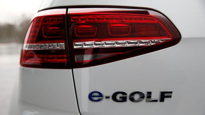 A Volkswagen e-Golf electric car.
