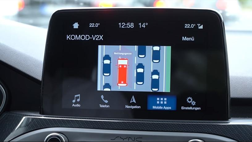 Ford's Sync display will show drivers how to create an emergency corridor when there is an accident ahead.