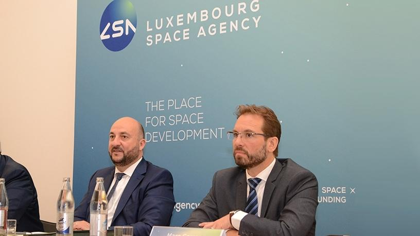 (left to right) : 'Etienne Schneider, Deputy Prime minister, Minister of the Economy of the Grand Duchy of Luxembourg ; Marc Serres, CEO of the Luxembourg Space Agency (Photo: Business Wire)