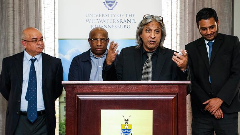 Professor Adam Habib (Wits) launching #SA4IR, with (behind from left): professor John Hendricks (Fort Hare), Sipho Maseko (Telkom) and professor Babu Paul (UJ). (Photograph by Wits University)