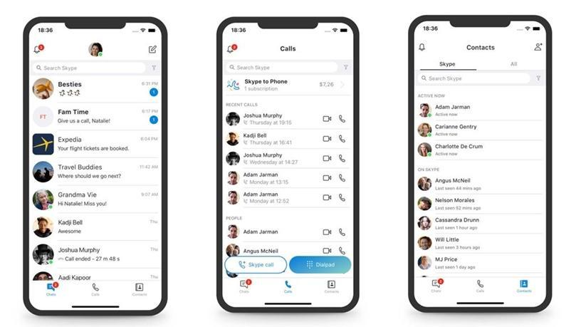 The new, simpler, Skype messaging app.