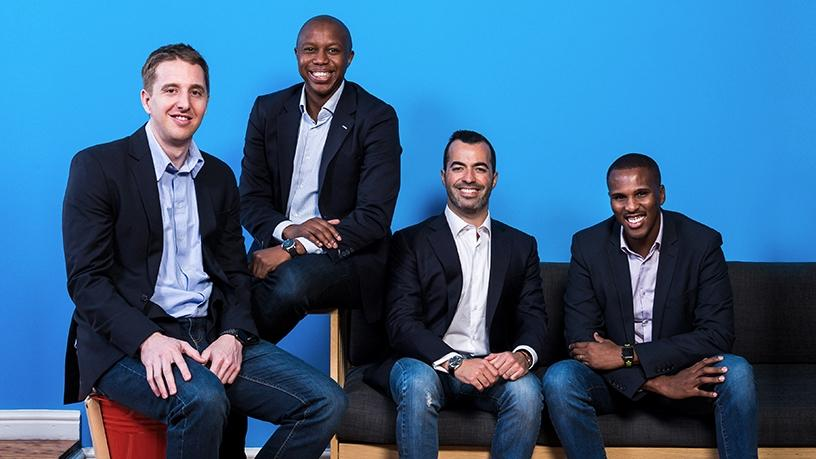 Yoco's leadership: Bradley Wattrus (CFO), Katlego Maphai (CEO), Carl Wazen (chief business officer) and Lungisa Matshoba (CTO).