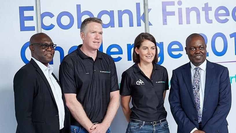 From left: Eddy Ogbogu (Group Executive, Operations & Technology at Ecobank), Ryan Barlow (Chief Technology Officer at e4), Andrea Tucker (R&D Head at e4) and Ade Ayeyemi (Group Chief Executive Officer at Ecobank).