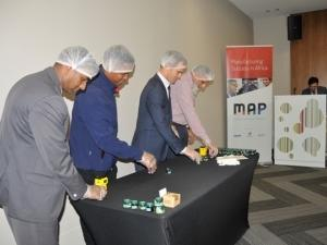 Manoj Seonath, IDC Head: Agro-Processing; Thabang Masiu, Sir Juice Quality Manager; James Wood, Aptean Director: Business Development; Muhammed Naasif Darsot, Director: Dursot Foods.