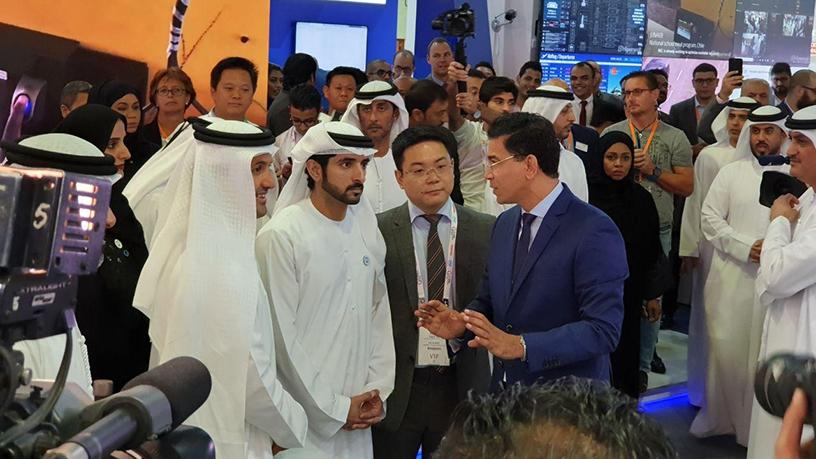 The crown prince of Dubai and chairman of the Dubai Executive Council His Highness Sheikh Hamdan bin Mohammed bin Rashid Al Maktoum (centre) officially opened GITEX.