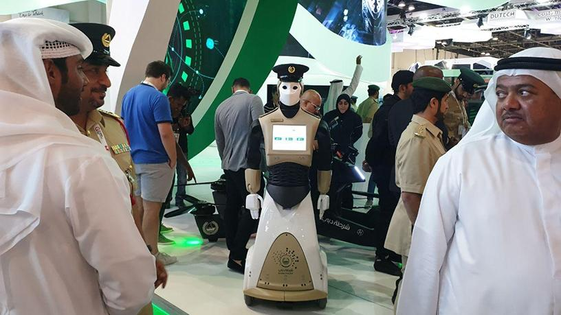Dubai government departments showed the technologies they are implementing in the city, including the police force's 'robo-cops'.