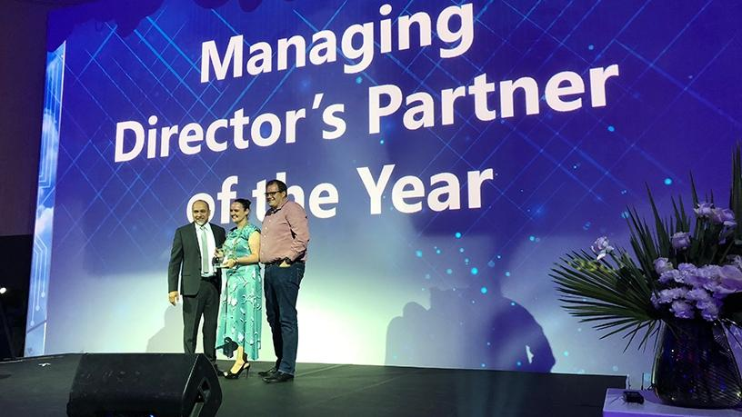 Carel du Toit, CEO of Mint Group, accepting the MD's Partner of the Year award.