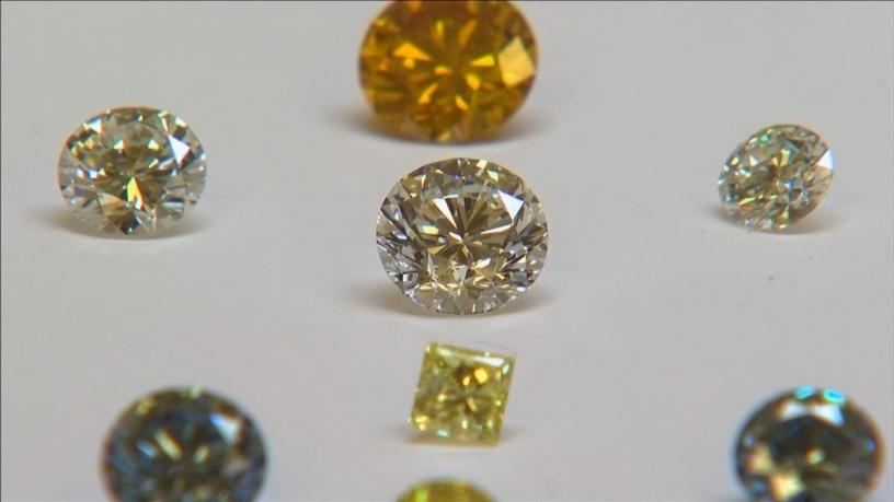 Synthetic diamonds at the De Beers International Institute of Diamond Grading and Research.