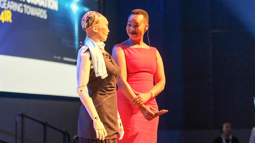 Ndabeni-Abrahams, humanoid robot Sophia discuss 4IR
